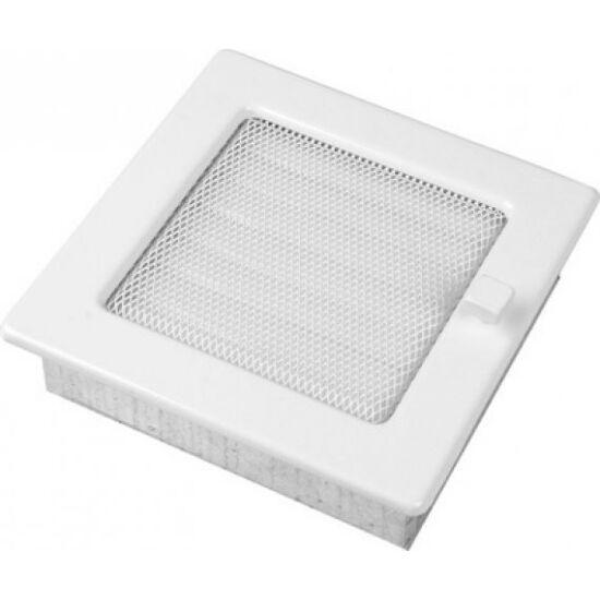 Fehér kandalló szellőzőrács - zsalus 17x17 cm